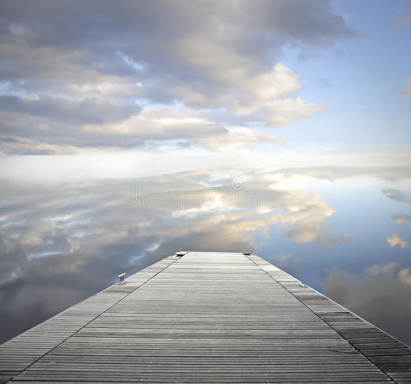 Empty dock. Looking at the sky stock photo