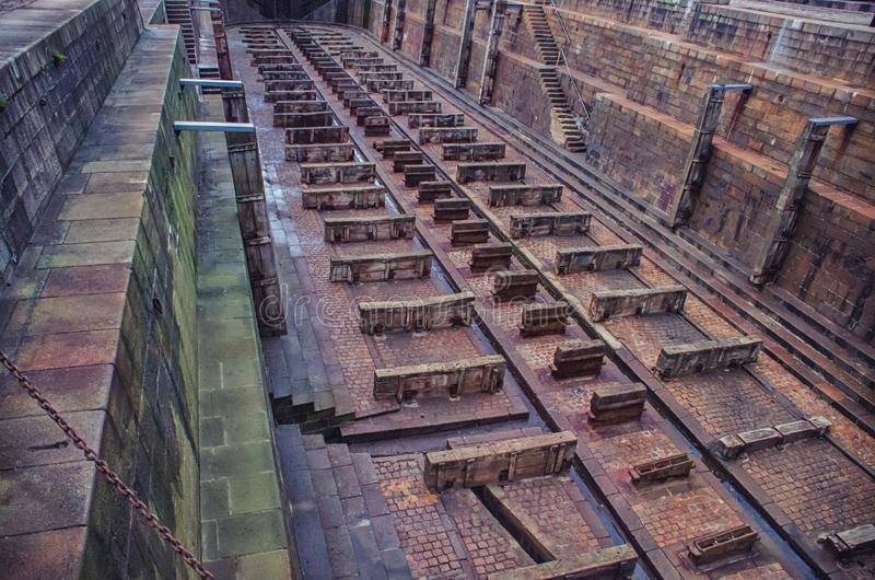 Empty dry dock for repair of large ships royalty free stock images