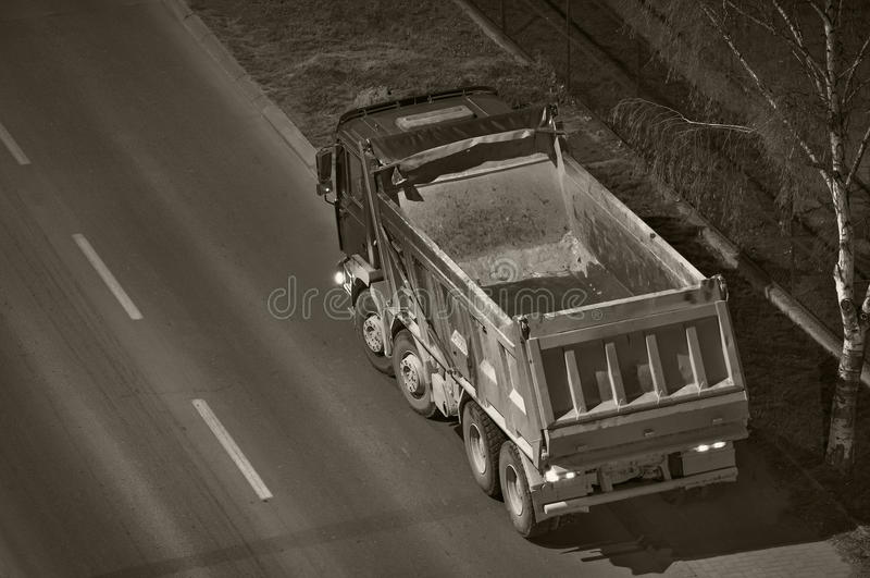 Empty dump truck. Empty dump-truck in the night viewed from above royalty free stock images