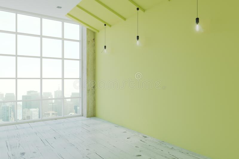 Empty eco style room. With green wall, wooden floor, floor-to-ceiling window and megapolis city view. 3D render stock illustration