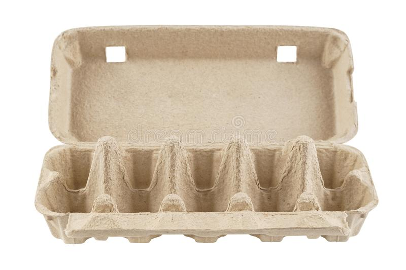 Empty egg carton, box, tray or container isolated on white. Recyclable cardboard or paper packaging. Front view royalty free stock image