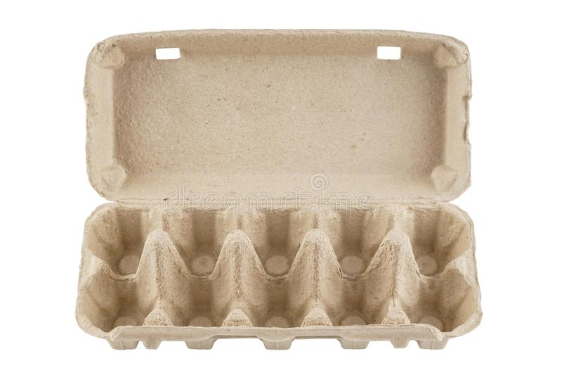 Empty egg carton, box, tray or container isolated on white. Recyclable cardboard or paper packaging. Front view royalty free stock images