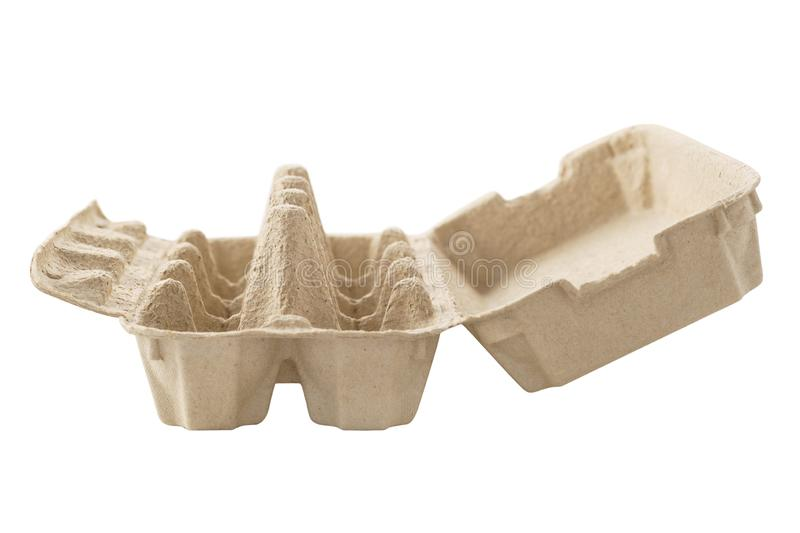 Empty egg carton, box, tray or container isolated on white. Recyclable cardboard or paper packaging. Side view royalty free stock image