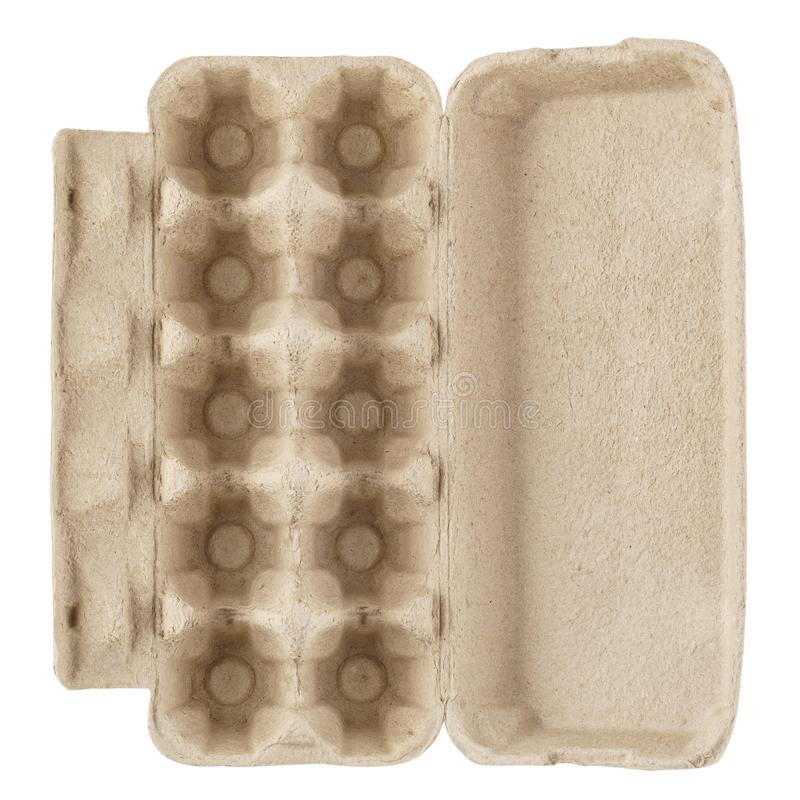 Empty egg carton, box, tray or container isolated on white. Recyclable cardboard or paper packaging. Top view stock photo