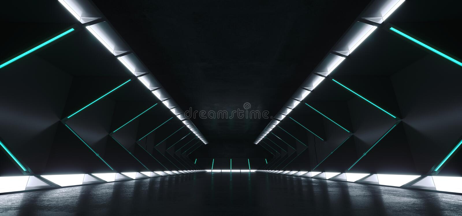 Empty Elegant Spaceship Modern Sci Fi Futuristic Long Dark Grunge Concrete Corridor With White Bright Lights And Blue Green Strip royalty free illustration