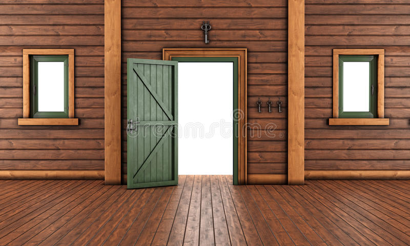 Empty Entrance Room Of A Wooden House Stock Illustration