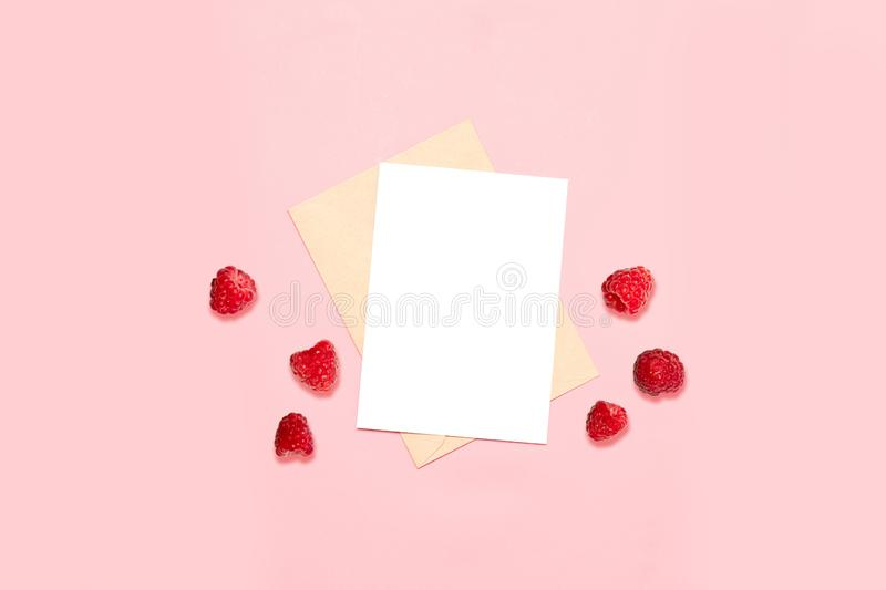 Empty envelope with a sheet on a pink background, decorated with native raspberries. An empty envelope with a sheet on a pink background, decorated with native stock images