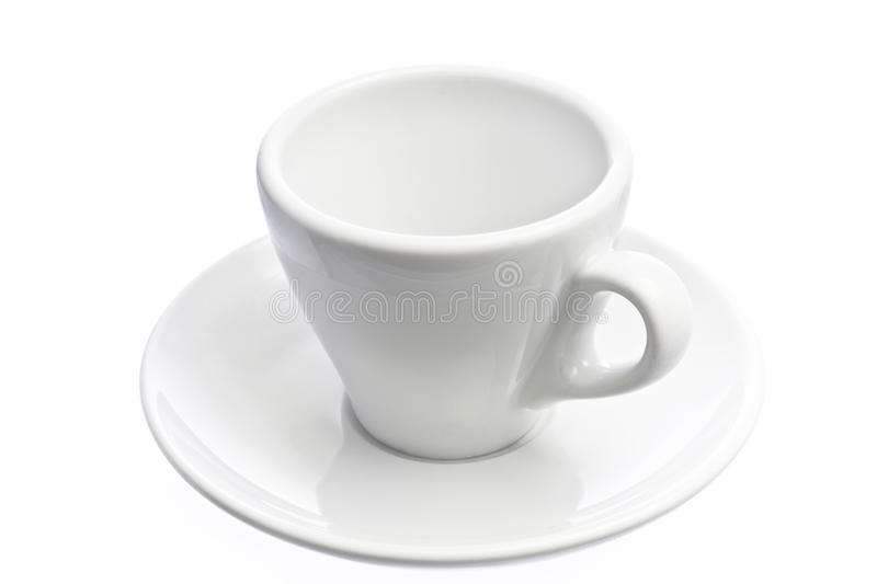 Empty espresso coffee cup isolated over white royalty free stock image