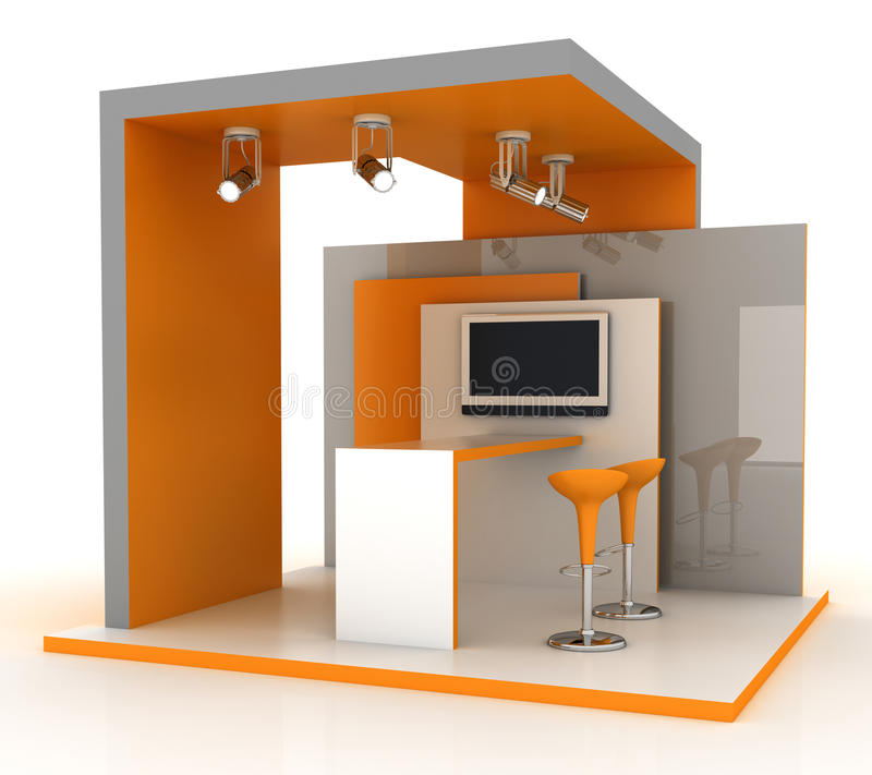 Empty exhibition booth, copy space illustration stock illustration