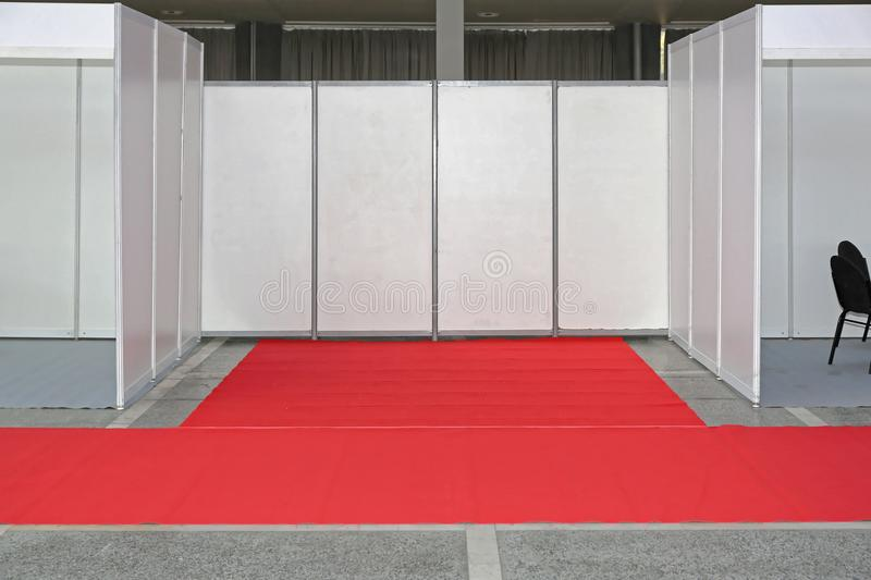 Empty Exibition Space. Empty Exibition Trade Space With Red Carpet royalty free stock photography