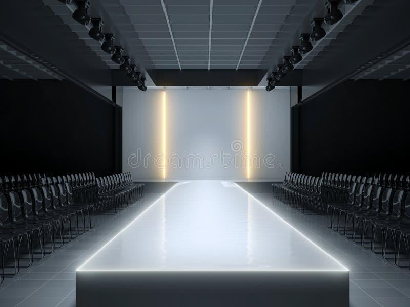 Empty fashion runway podium stage stock illustration