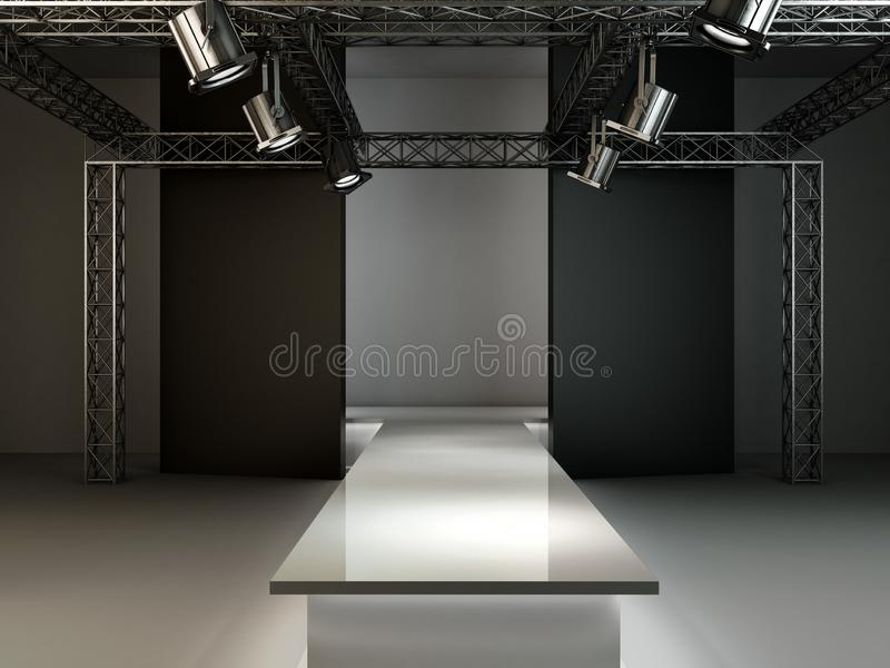 Empty fashion runway podium stage interior realistic background 3d render illustration stock illustration
