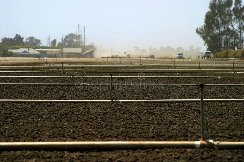 Empty field. Empty brown agricultural field with irrigation pipes royalty free stock images