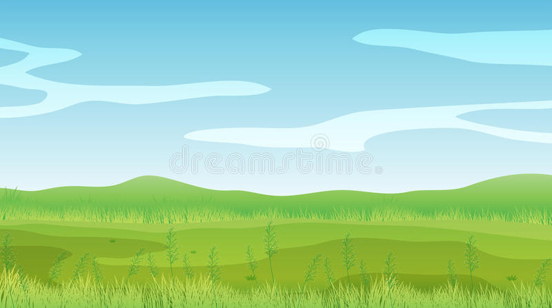 An empty field under a clear blue sky vector illustration