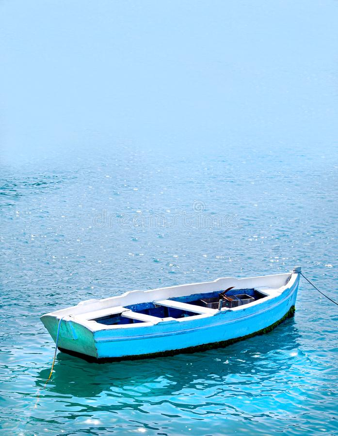 Empty Fishing Row Boat with Copy Space stock image