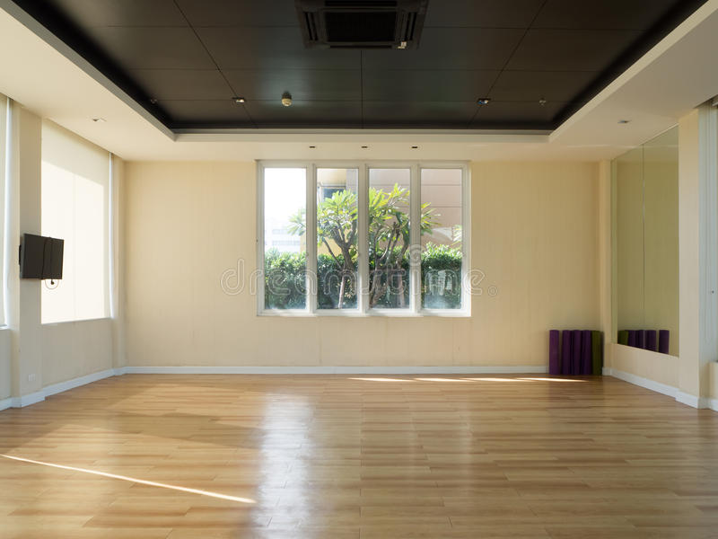 Empty fitness room with yoga mat stock photo image of