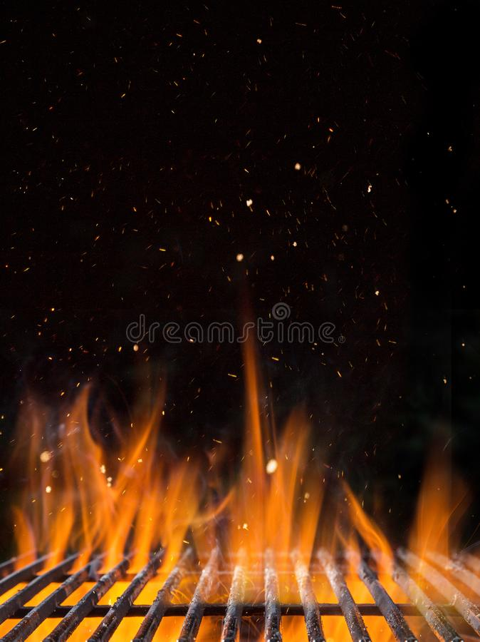 Empty flaming charcoal grill with open fire. Empty flaming charcoal grill with open fire, ready for product placement royalty free stock photography