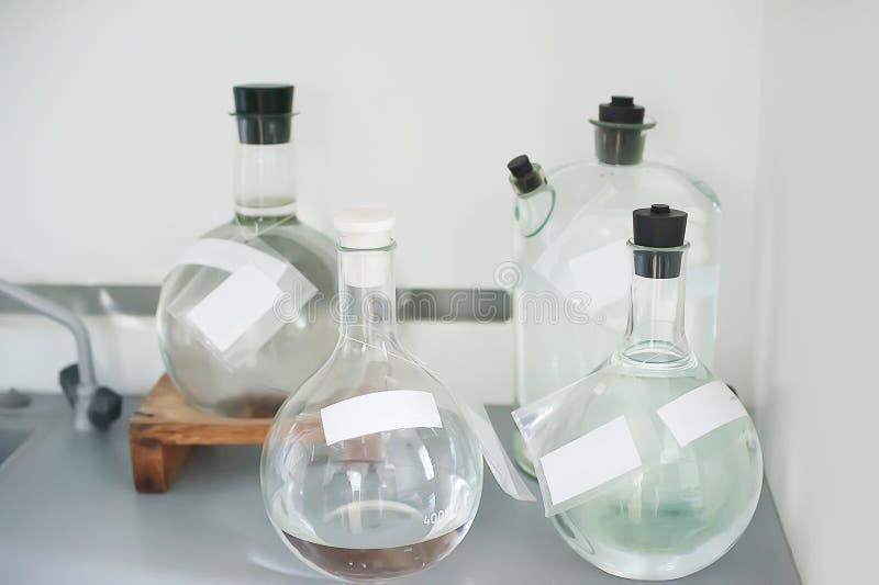 Empty flasks. Laboratory analysis equipment. Chemical laboratory, glassware test-tubes. royalty free stock image