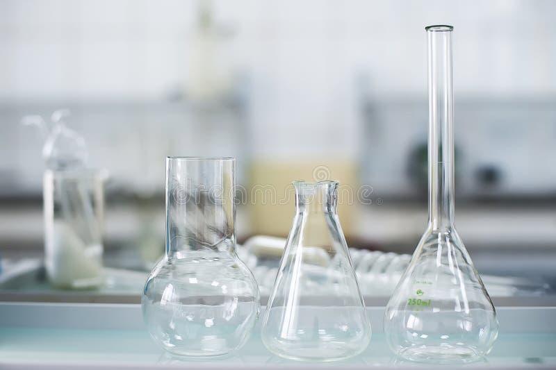 Empty flasks. Laboratory analysis equipment. Chemical laboratory, glassware test-tubes. stock photos