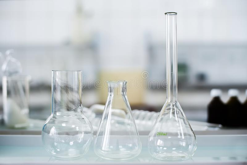 Empty flasks. Laboratory analysis equipment. Chemical laboratory, glassware test-tubes. Empty flasks. Laboratory analysis equipment. Chemical laboratory stock photos