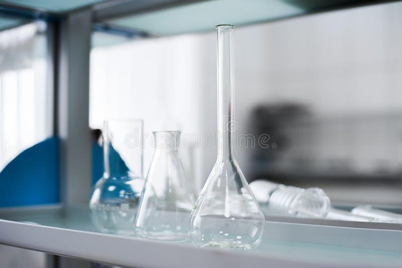 Empty flasks. Laboratory analysis equipment. Chemical laboratory, glassware test-tubes. stock images
