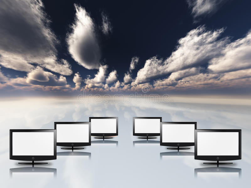 Empty flat panels in white with sky royalty free illustration
