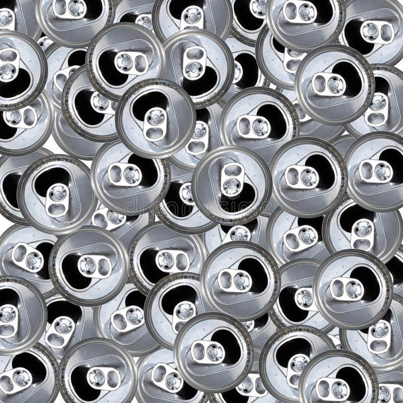 Empty Flip Top Aluminum Cans Pattern. royalty free stock photos