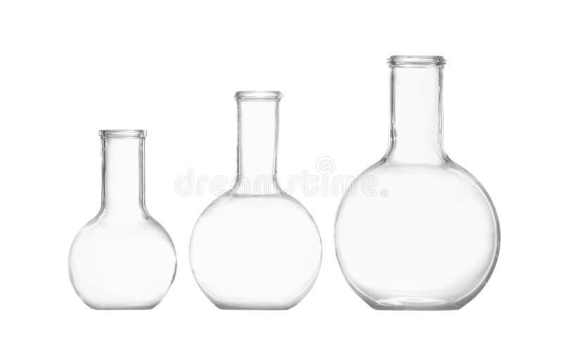Empty Florence flasks on white background stock image