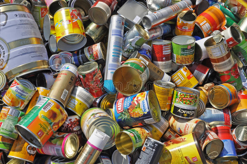 Empty food cans for recycling stock photo