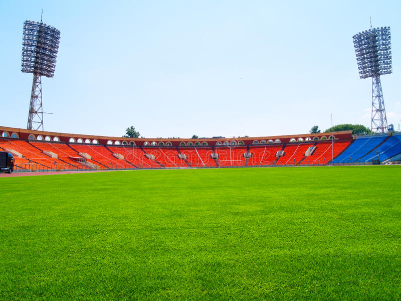 Empty football field. And stadium royalty free stock images