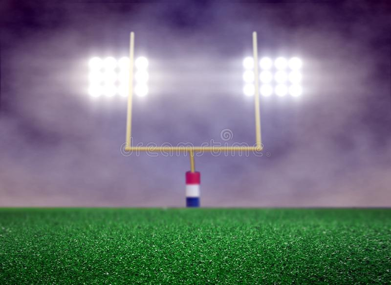 Empty Football Field And Spotlight With Smoke Royalty Free Stock Photography