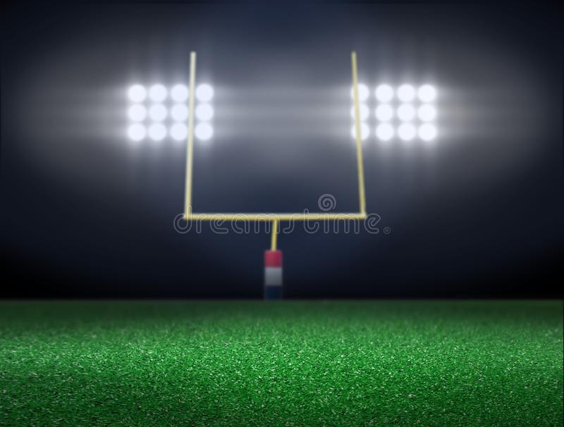 Empty football field with spotlights royalty free illustration