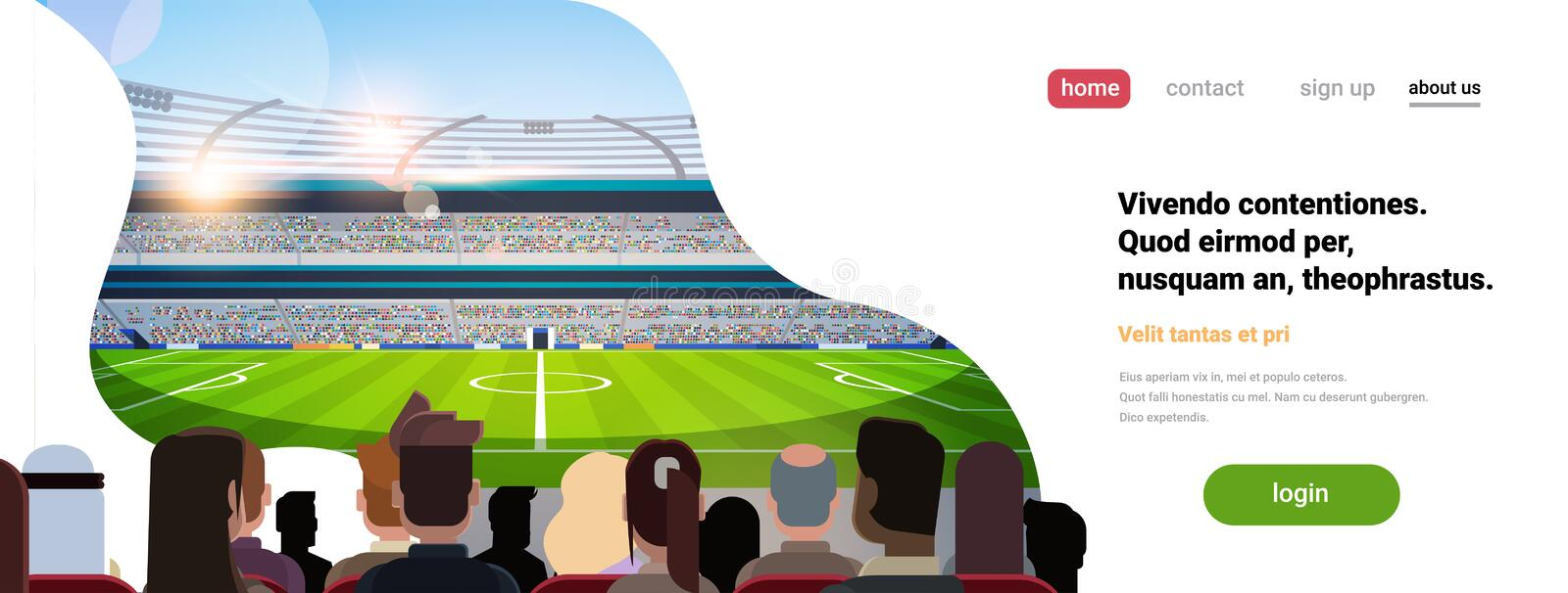 Empty football stadium field silhouettes of fans waiting match rear view copy space flat banner stock illustration