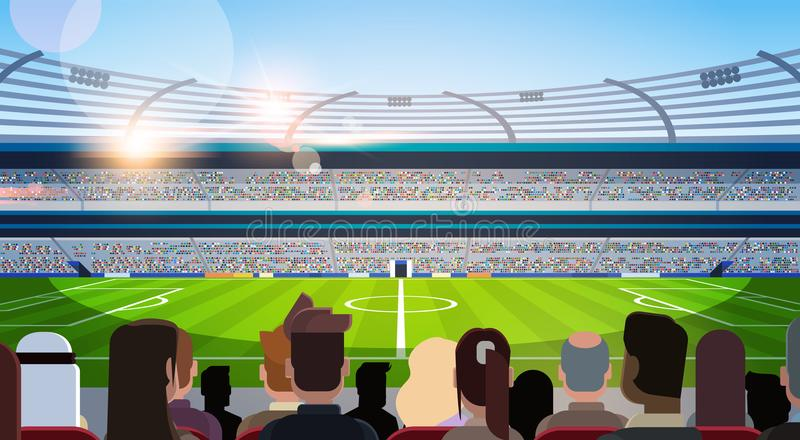 Empty football stadium field silhouettes of fans waiting match rear view flat horizontal. Vector illustration royalty free illustration