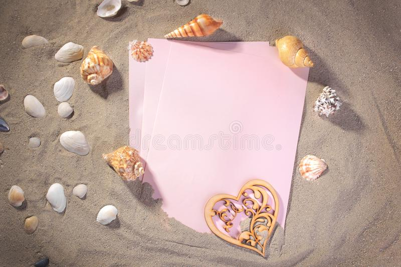 Empty forms on the sea with different shells. stock image