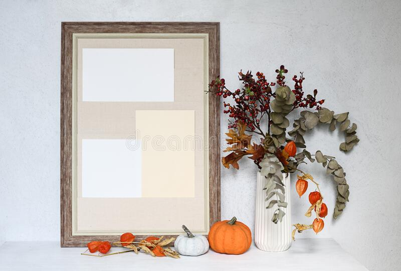Empty frame with autumnal composition stock photography