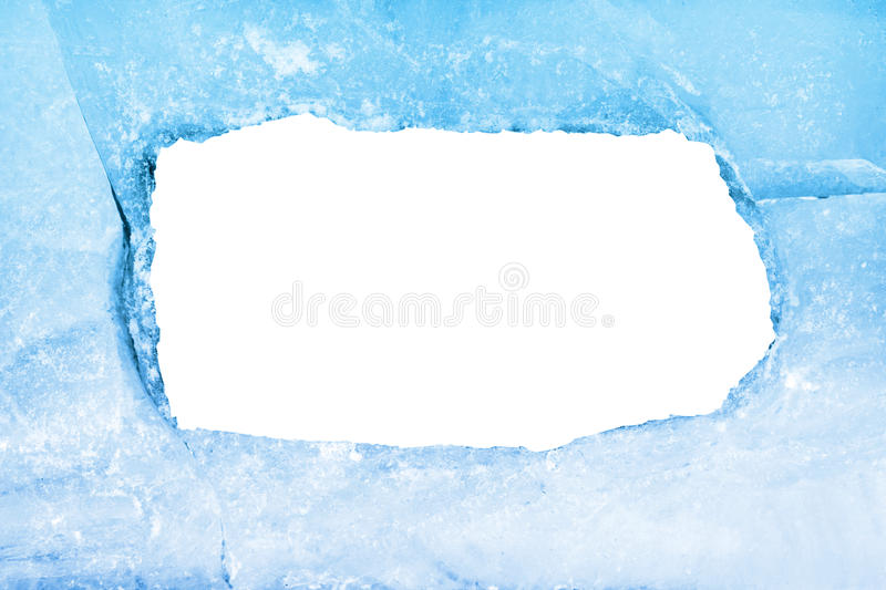 Empty frame of blue ice stock photography