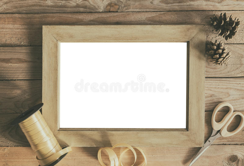 Empty frame gift wrapping concept stock photo