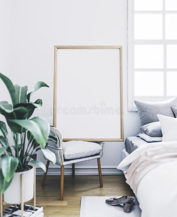 Poster mockup in bedroom. Empty frame in interior. stock photos