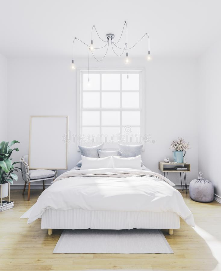 Poster mockup in bedroom. Empty frame in interior. stock images