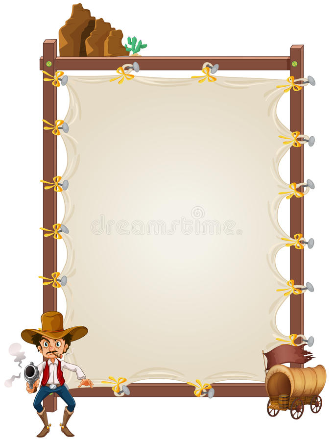 An Empty Framed Banner With A Cowboy And A Wagon Royalty Free Stock Photo