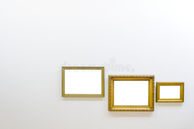 Empty frames in art gallery room royalty free stock images