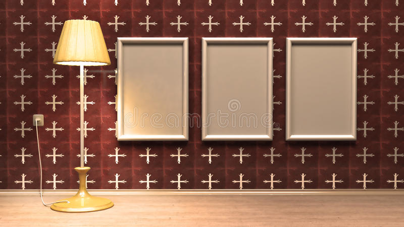 Empty frames hanging on the wall royalty free illustration