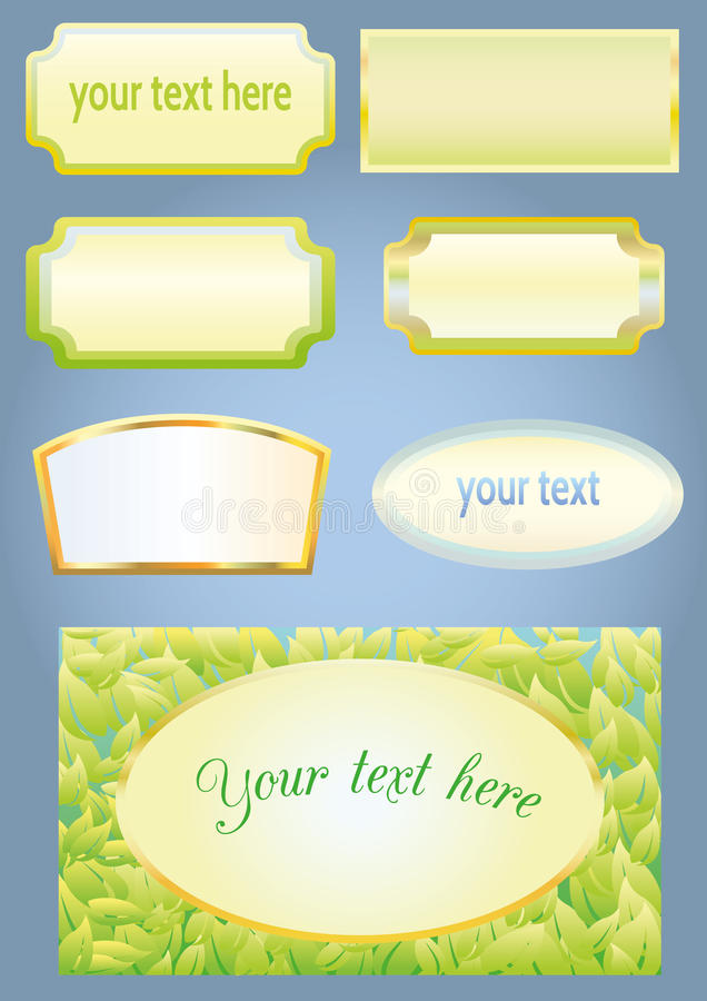 Empty frames for labels. Set of labels with green background and frame vector illustration