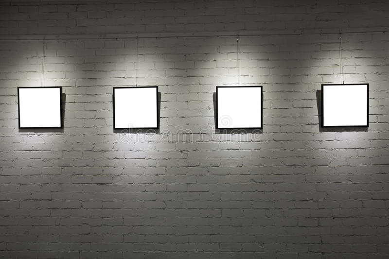 Empty Frames In Museum Stock Images