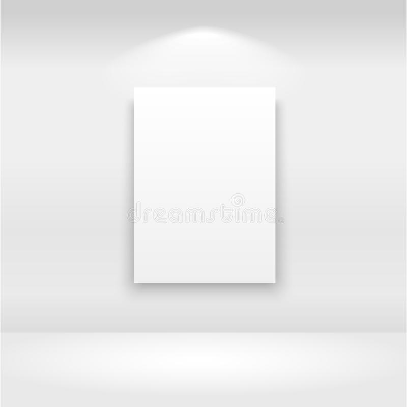 Empty frames on the wall in gallery with lights. Vector.  vector illustration