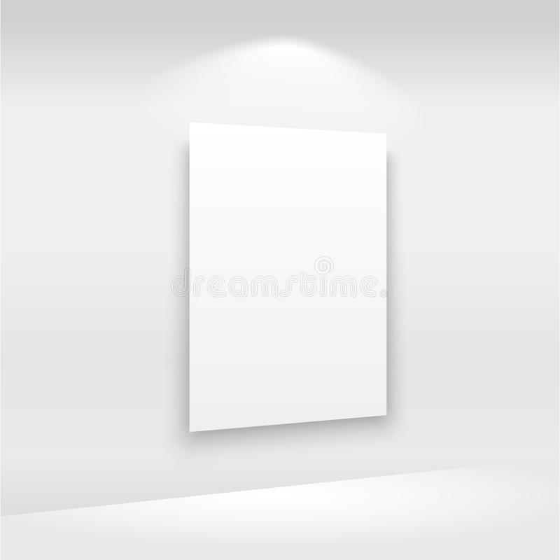Empty frames on the wall in gallery with lights. Vector.  stock illustration