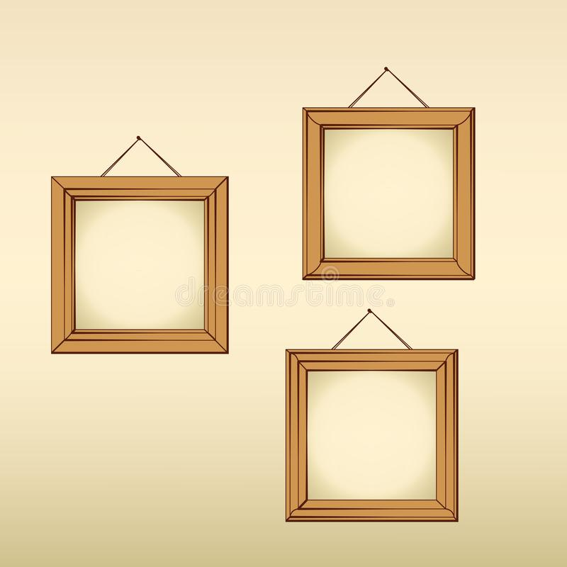 Empty frames on the wall stock vector. Illustration of frame - 105376519