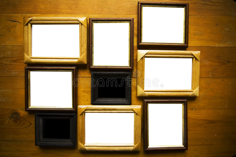 download empty frames on wooden wall stock photo image 5262408 - Empty Frames