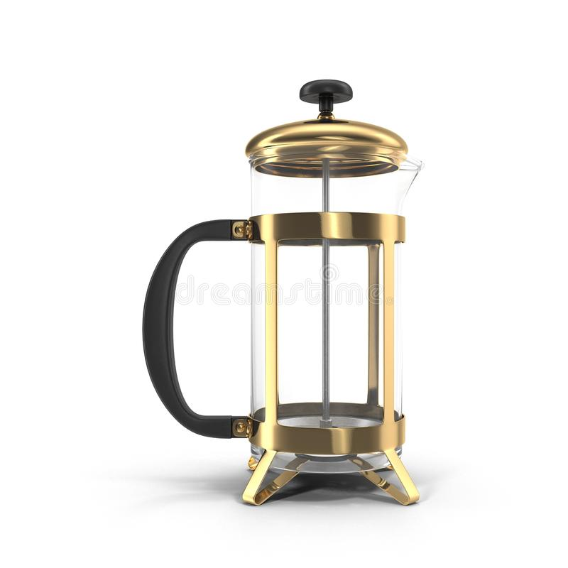 Empty French press coffee maker on white. 3D illustration. Empty French press coffee maker on white background. 3D illustration stock illustration